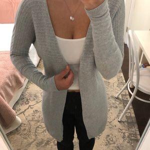 Long gray open Tahari cardigan